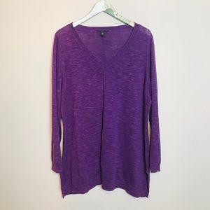 EILEEN FISHER light knit purple long sleeve top 1X